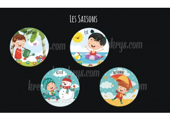"Lot de 4 Badges 25 mm Magnet collection ""Ma routine journée"" : les 4 saisons"