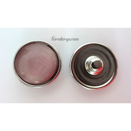 Bouton pression verre dit oeil de chat rose pâle
