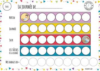 """NOUVEAU Tableau """"Ma routine- journée"""" motifs triangle"""