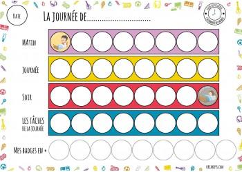 """NOUVEAU Tableau """"Ma routine- journée"""" motifs objets"""