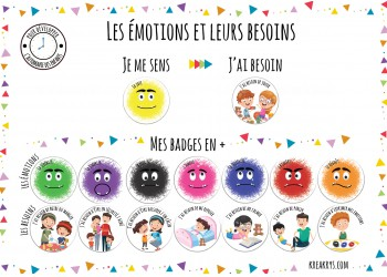 "Lot 16 Badges 25 mm Magnet collection complète ""Emotions/besoins"""