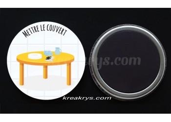 """Badge 25 mm Magnet collection """"Ma routine des tâches"""" : Mettre le couvert"""