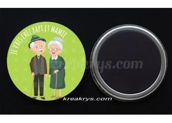 """Badge 25 mm Magnet collection """"Ma routine-journée"""" : je vais chez papi et mamie"""
