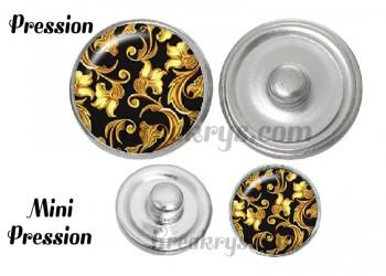 Bouton pression verre bohème fleurs rétro doré sur fond noir