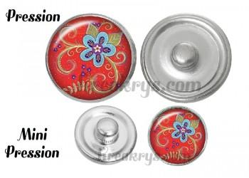 Bouton pression verre bohème fleurs rétro bleu sur fond rouge