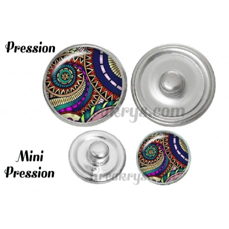 Bouton pression verre bohème spirale