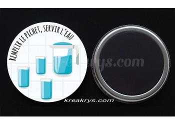 """Badge 25 mm Magnet collection """"Ma routine des tâches"""" : Remplir le pichet/servir l'eau"""