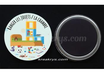 """Badge 25 mm Magnet collection """"Ma routine des tâches"""" : Ranger les jouets / la chambre"""