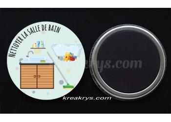 """Badge 25 mm Magnet collection """"Ma routine des tâches"""" : Nettoyer la salle de bain"""