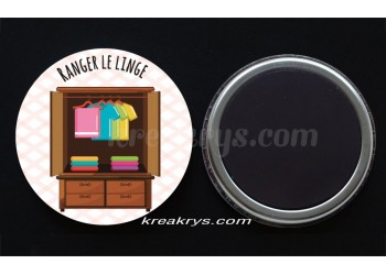 "Badge 25 mm Magnet collection ""Ma routine des tâches"" : Ranger le linge"