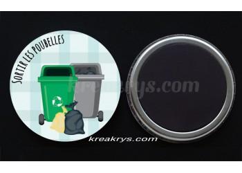 """Badge 25 mm Magnet collection """"Ma routine des tâches"""" : Sortir les poubelles"""