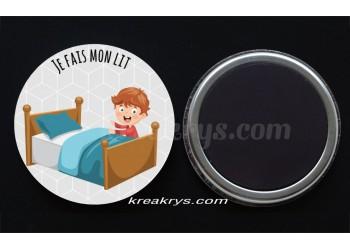 """Badge 25 mm Magnet collection """"Ma routine des tâches quotidienne"""" : Je fais mon lit"""