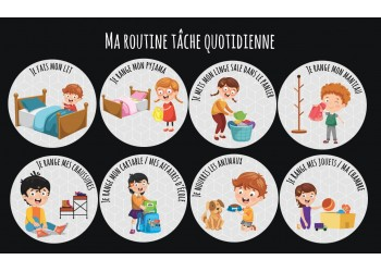 "Badge 25 mm Magnet collection ""Ma routine des tâches"" : lot je participe au quotidien"