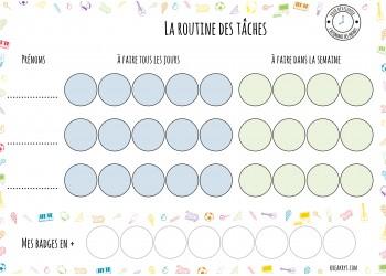 """NOUVEAU Tableau """"Ma routine- je participe aux tâches"""" : motifs objets"""