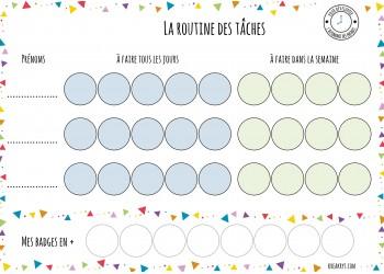 """NOUVEAU Tableau """"Ma routine- je participe aux tâches"""" : motifs triangles"""