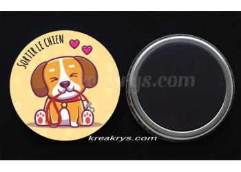 "Badge 25 mm Magnet collection ""Ma routine des tâches"" : sortir le chien"