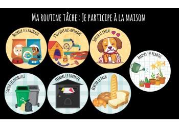 """Badge 25 mm Magnet collection """"Ma routine des tâches"""" : lot je participe animaux/extérieur"""