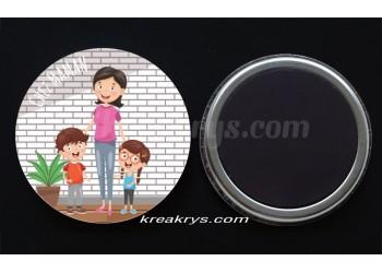 """Badge 25 mm Magnet collection """"Ma routine-journée"""" : je suis chez maman"""