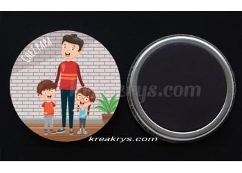 """Badge 25 mm Magnet collection """"Ma routine-journée"""" : je suis chez papa"""