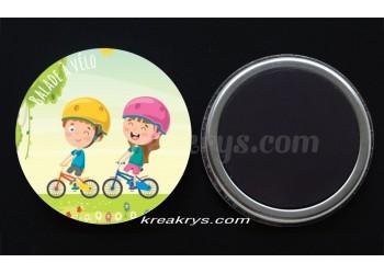 """Badge 25 mm Magnet collection """"Ma routine-activité"""" : balade à vélo"""