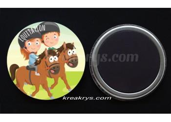 """Badge 25 mm Magnet collection """"Ma routine-activité"""" : équitation"""