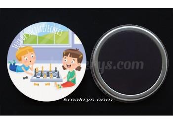 """Badge 25 mm Magnet collection """"Ma routine-activité"""" : jeux de sociétés"""