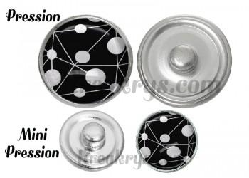 Bouton pression verre rond blanc fond noir