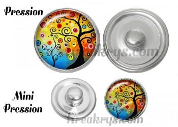 Bouton pression verre arbre spirale fond multicolore
