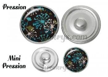 Bouton pression verre pissenlit turquoise et blanc
