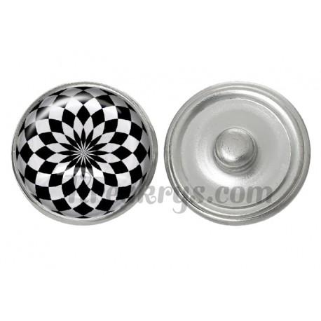 Bouton pression verre illusion d'optique noir et blanc