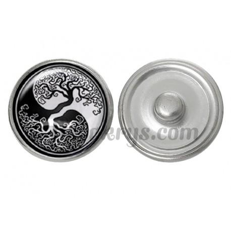 Bouton pression verre ying yang arbre de vie noir et blanc