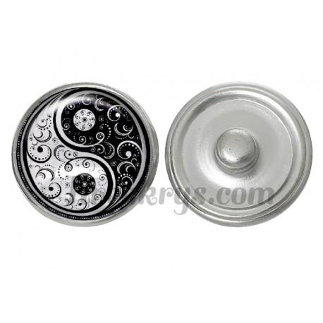 Bouton pression verre ying yang bohème noir et blanc