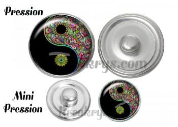 Bouton pression verre ying yang bohème couleur