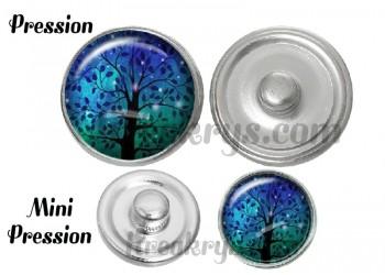 Bouton pression verre arbre bleu