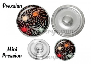 Bouton pression verre feu d'artifices