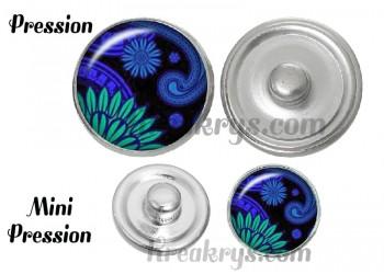 Bouton pression verre bohème vert et bleu