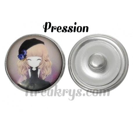 Bouton pression verre princesse prune