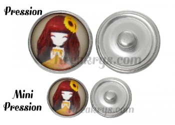 Bouton pression verre princesse Tournesol