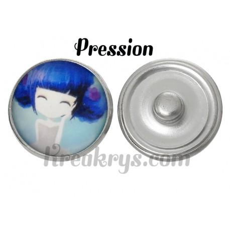 Bouton pression verre princesse bleuet