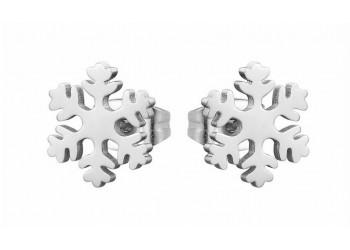 Boucles d'oreilles puce acier inoxydable flocon