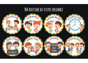 """Badge 25 mm Magnet collection """"Ma routine-vivre ensemble"""" : Lot de 8 magnets"""