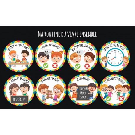 """""""Ma routine-vivre ensemble"""" : Lot de 8 magnets"""