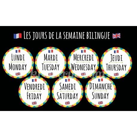 """Badge 25 mm Magnet Routine collection """"mon calendrier bilingue"""" : les jours de la semaine"""