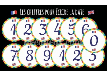 "Badge 25 mm Magnet Routine collection ""mon calendrier bilingue"" : la date"
