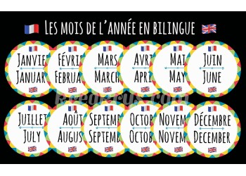 "Badge 25 mm Magnet Routine collection ""mon calendrier bilingue"" : les mois"