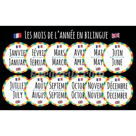 """Badge 25 mm Magnet Routine collection """"mon calendrier bilingue"""" : les mois"""