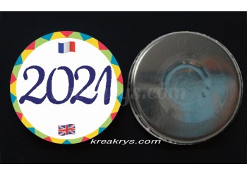 "Badge 25 mm Magnet Routine collection ""mon calendrier bilingue"" : l'année"