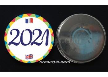 """Badge 25 mm Magnet Routine collection """"mon calendrier bilingue"""" : l'année"""