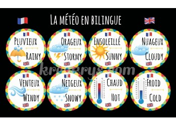 "Badge 25 mm Magnet Routine collection ""mon calendrier bilingue"" : la météo"