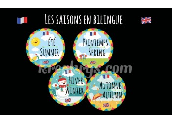 "Badge 25 mm Magnet Routine collection ""mon calendrier bilingue"" : les saisons"